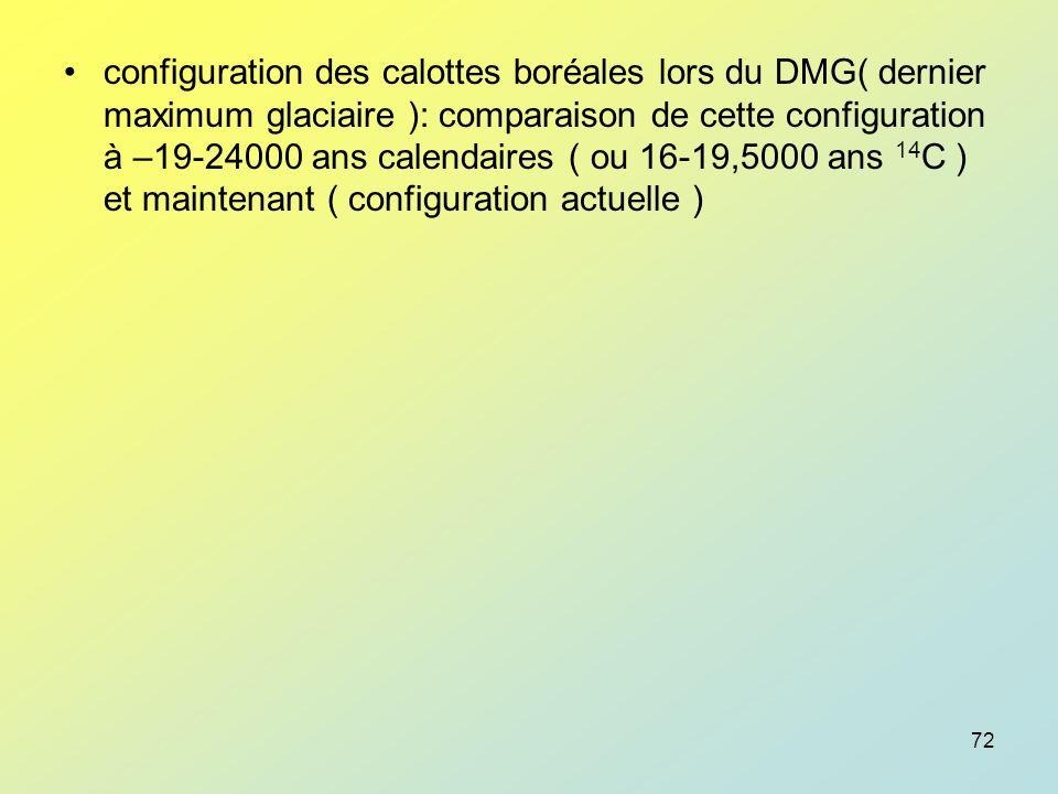 configuration des calottes boréales lors du DMG( dernier maximum glaciaire ): comparaison de cette configuration à –19-24000 ans calendaires ( ou 16-19,5000 ans 14C ) et maintenant ( configuration actuelle )