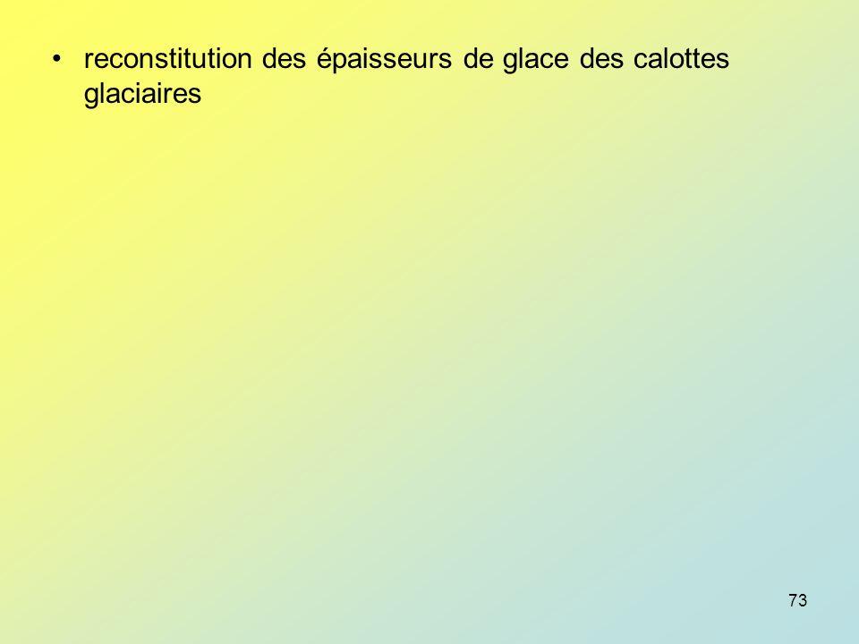 reconstitution des épaisseurs de glace des calottes glaciaires