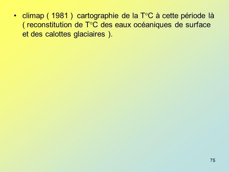 climap ( 1981 ) cartographie de la T°C à cette période là ( reconstitution de T°C des eaux océaniques de surface et des calottes glaciaires ).