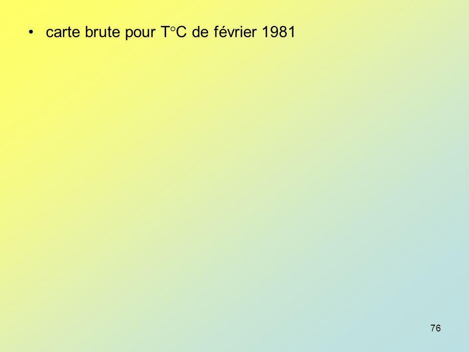 carte brute pour T°C de février 1981
