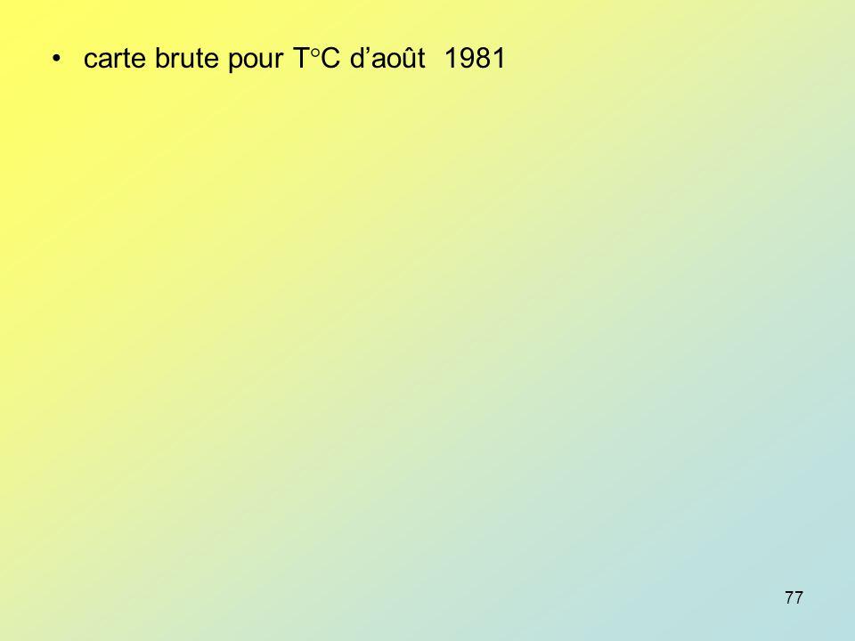 carte brute pour T°C d'août 1981