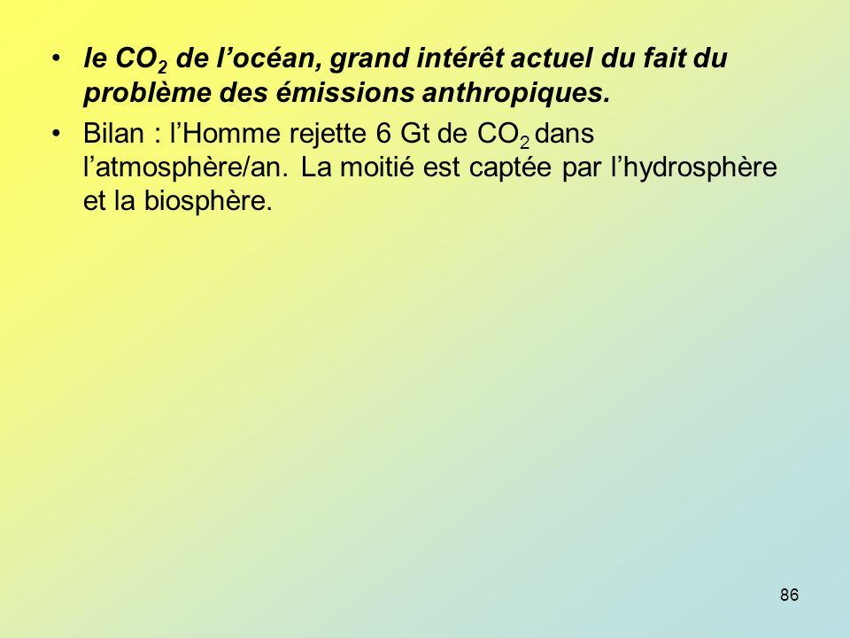 le CO2 de l'océan, grand intérêt actuel du fait du problème des émissions anthropiques.