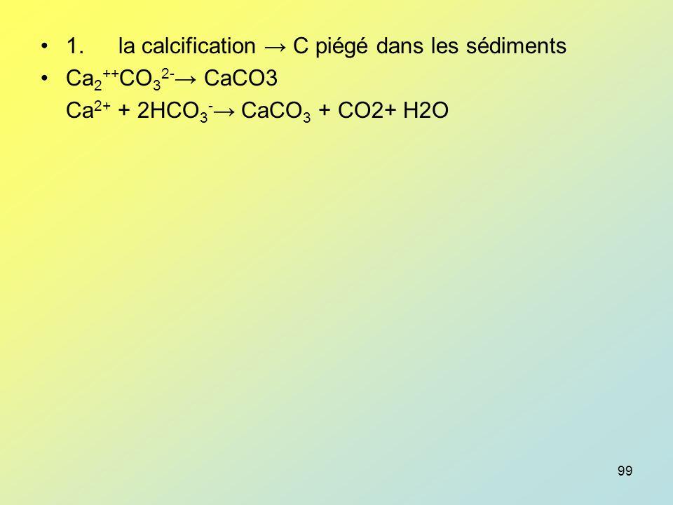 1. la calcification → C piégé dans les sédiments