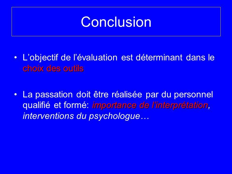 Conclusion L'objectif de l'évaluation est déterminant dans le choix des outils.