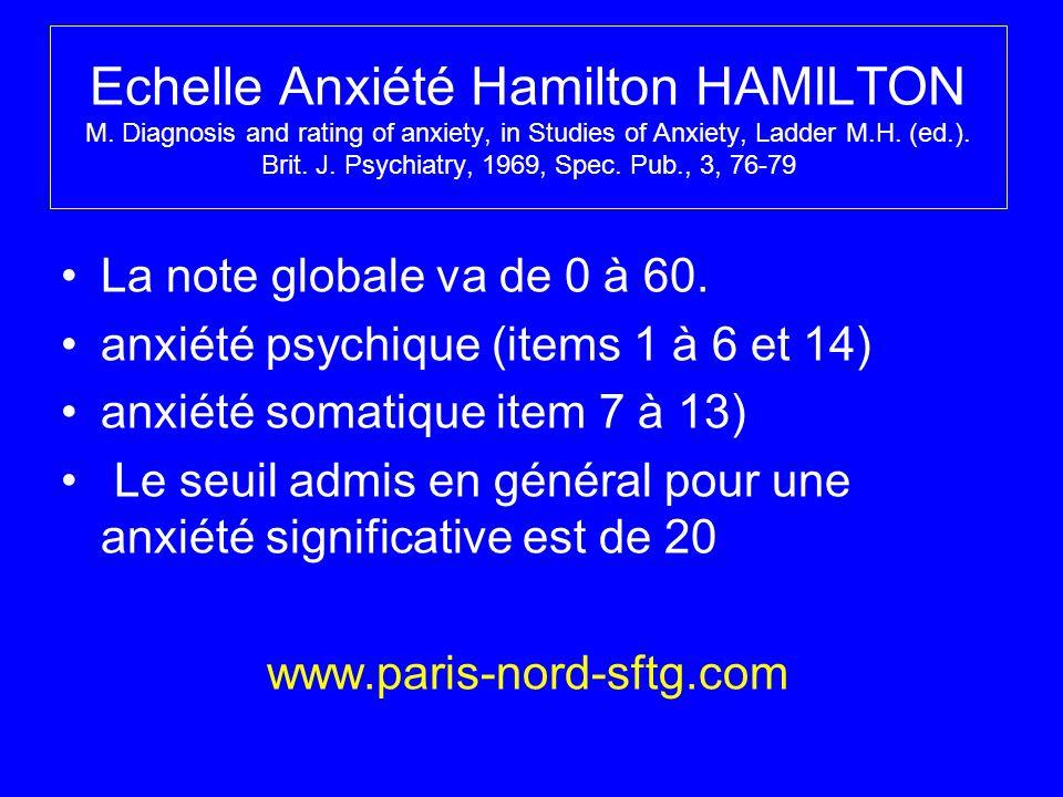 Echelle Anxiété Hamilton HAMILTON M