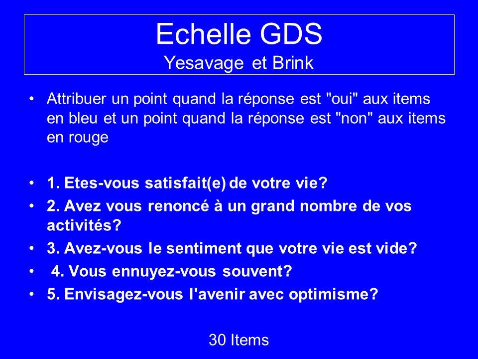 Echelle GDS Yesavage et Brink