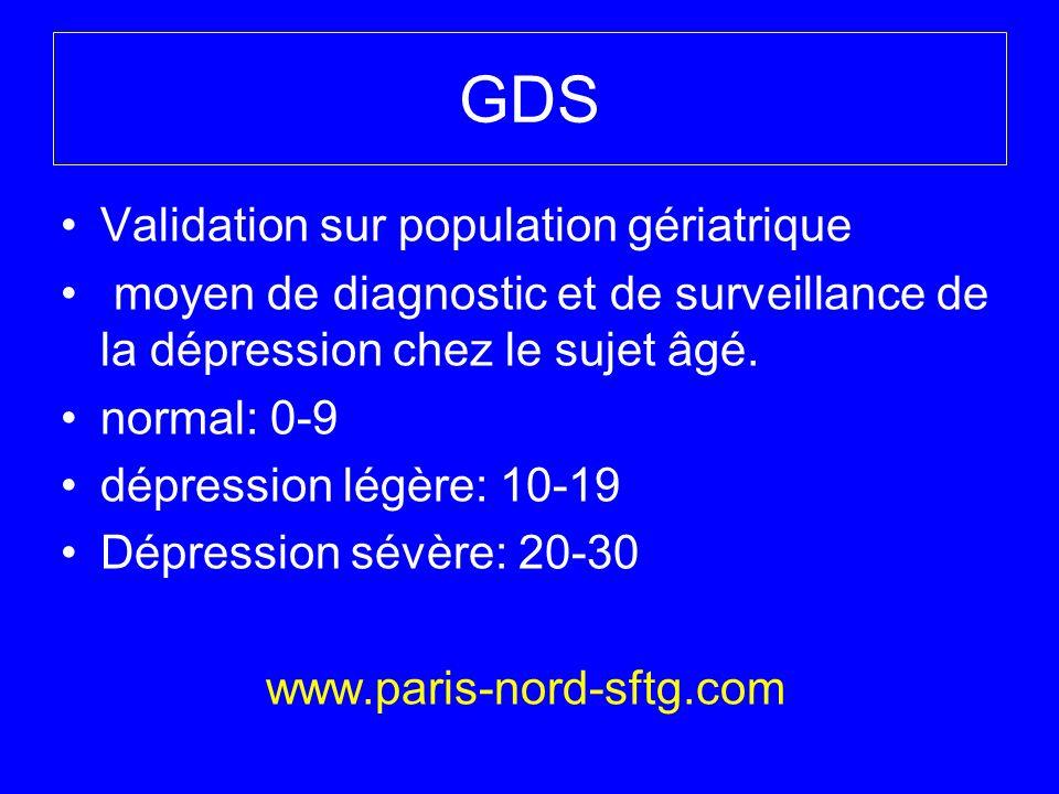 GDS Validation sur population gériatrique