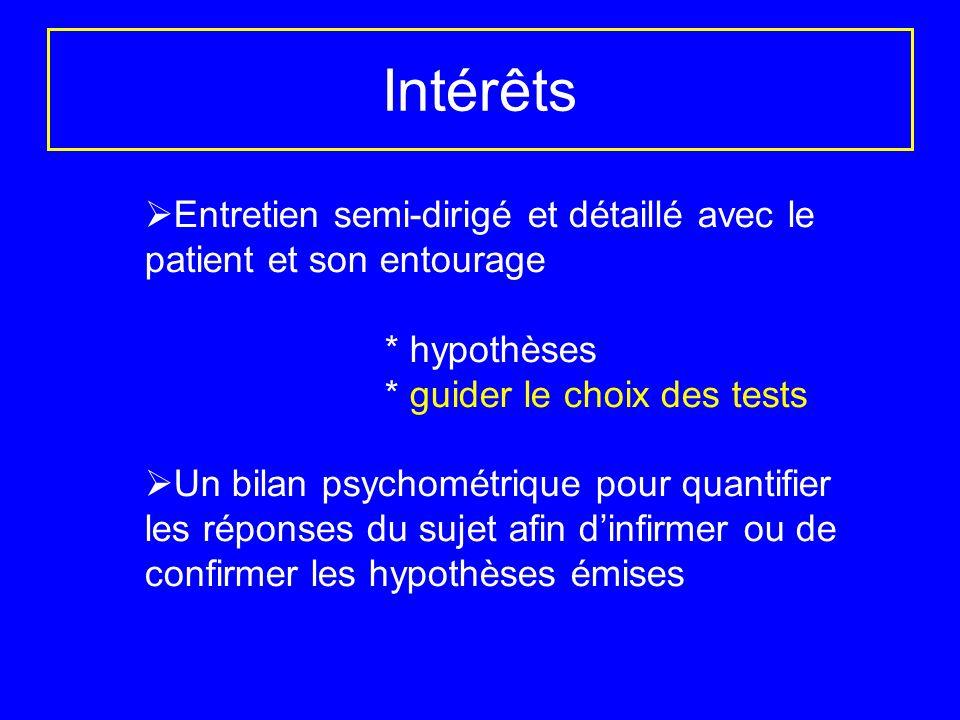 Intérêts Entretien semi-dirigé et détaillé avec le patient et son entourage. * hypothèses. * guider le choix des tests.
