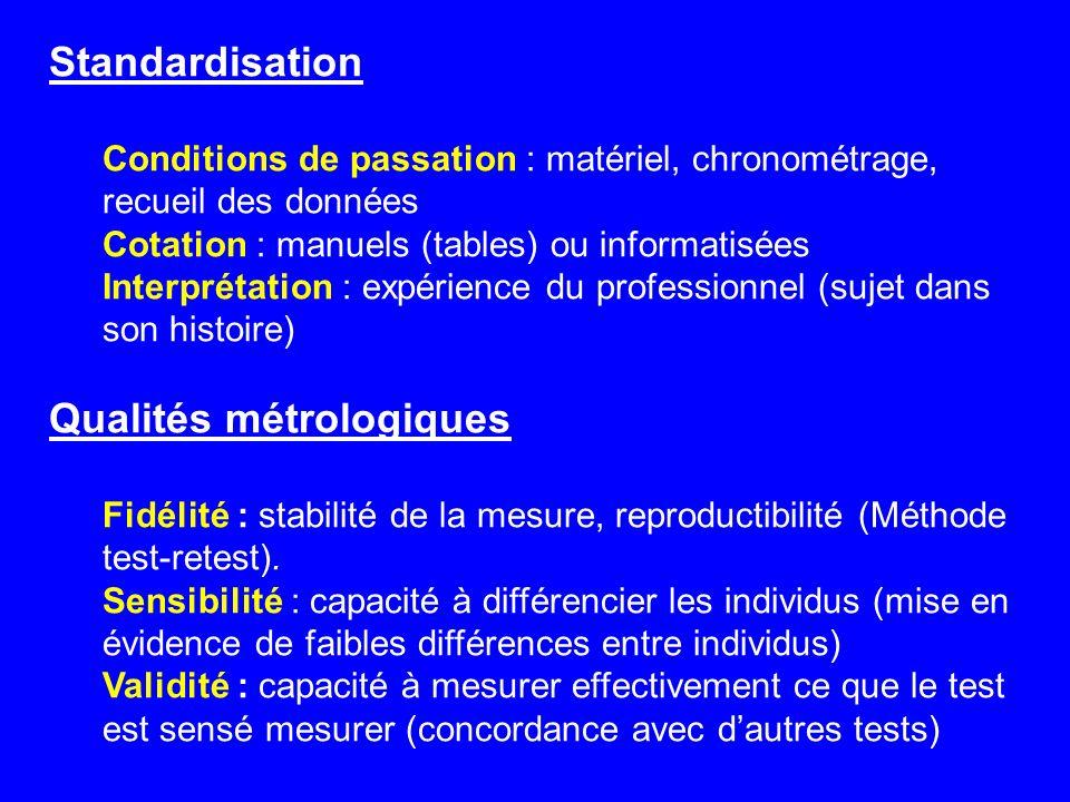 Qualités métrologiques