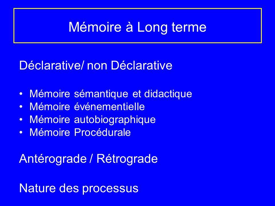 Mémoire à Long terme Déclarative/ non Déclarative
