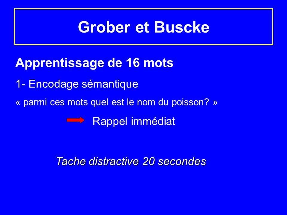 Grober et Buscke Apprentissage de 16 mots 1- Encodage sémantique