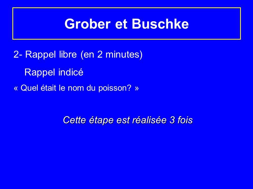 Grober et Buschke 2- Rappel libre (en 2 minutes) Rappel indicé