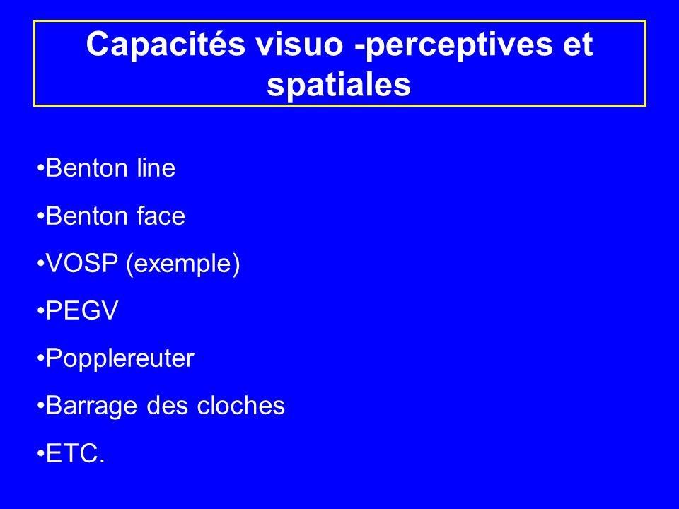 Capacités visuo -perceptives et spatiales