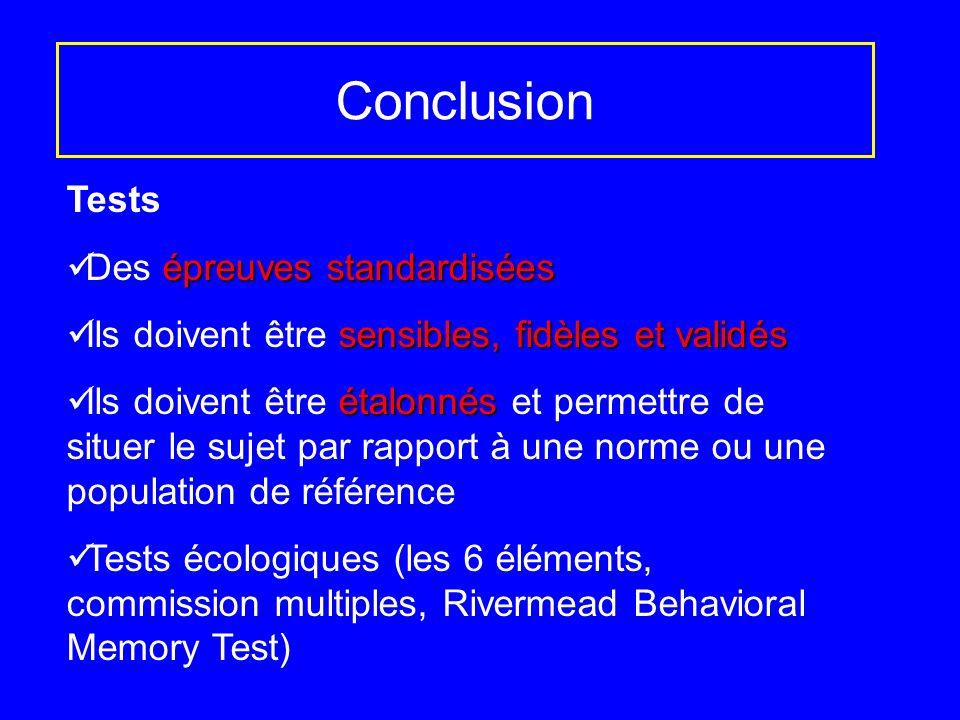 Conclusion Tests Des épreuves standardisées