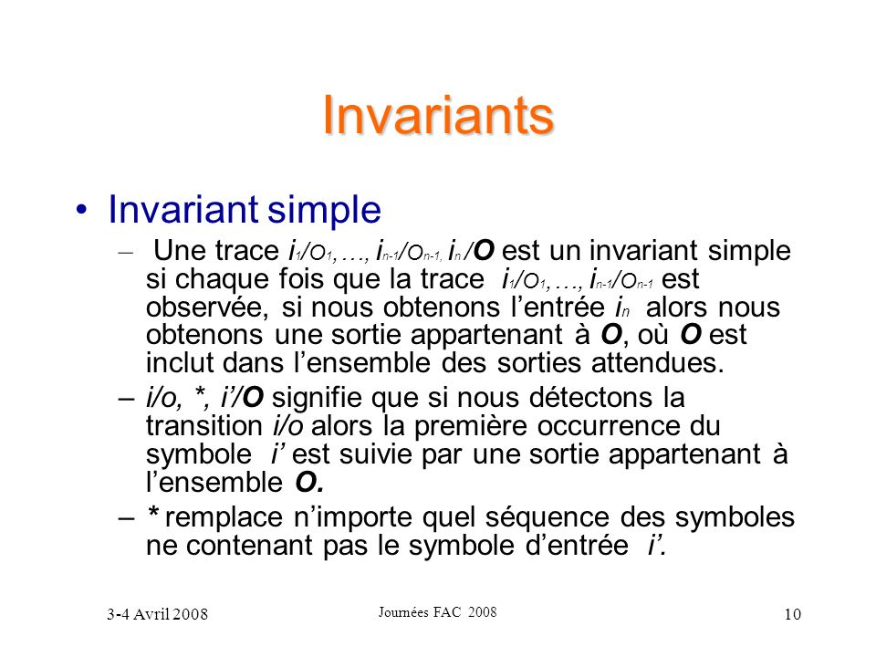Invariants Invariant simple