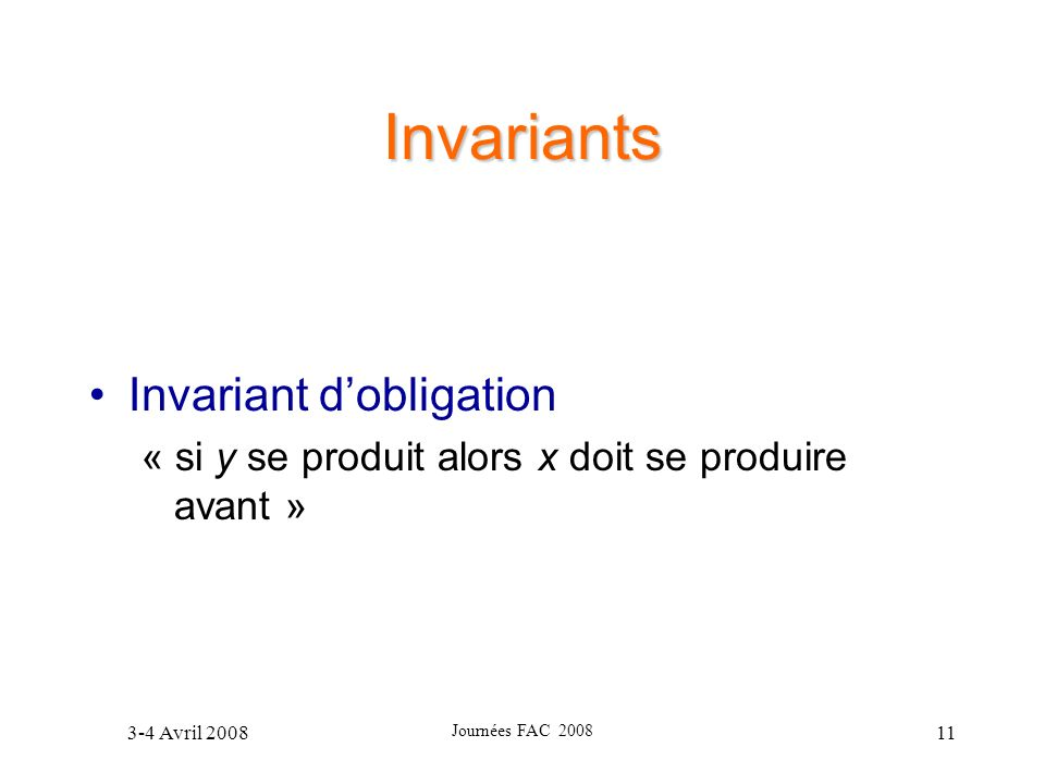 Invariants Invariant d'obligation