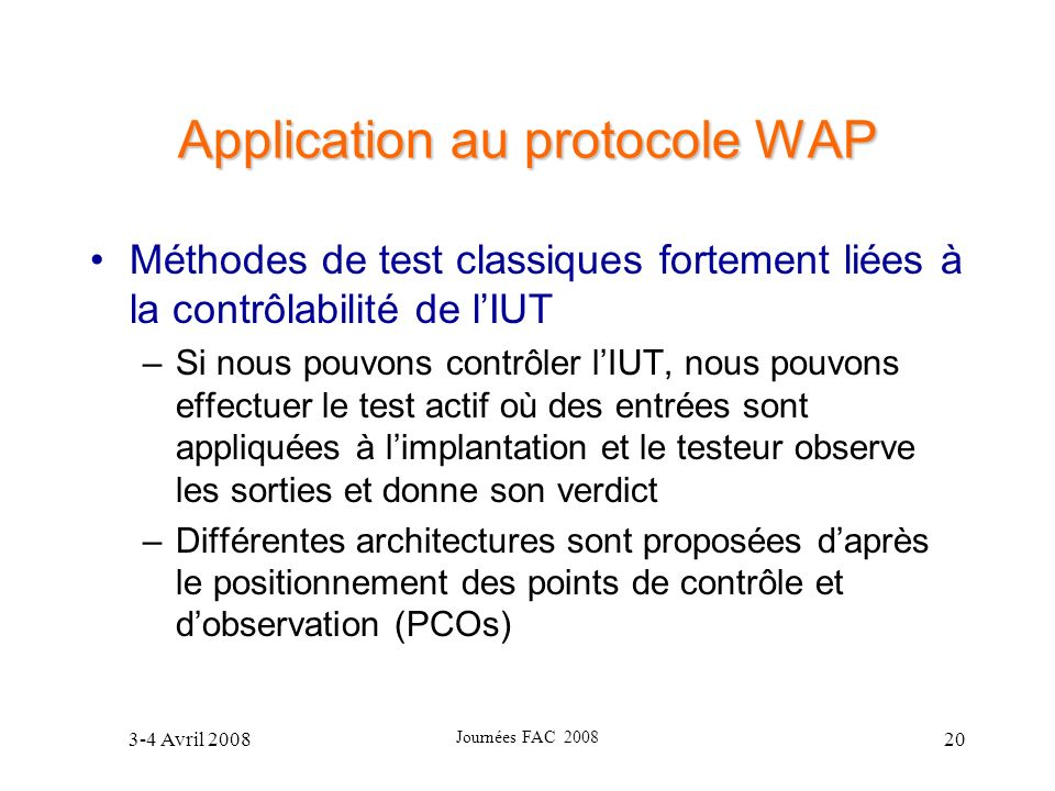 Application au protocole WAP