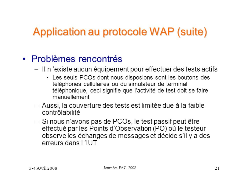 Application au protocole WAP (suite)