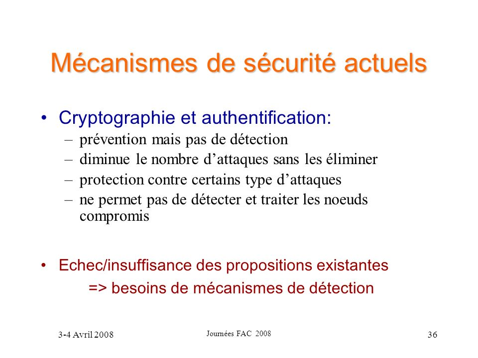 Mécanismes de sécurité actuels