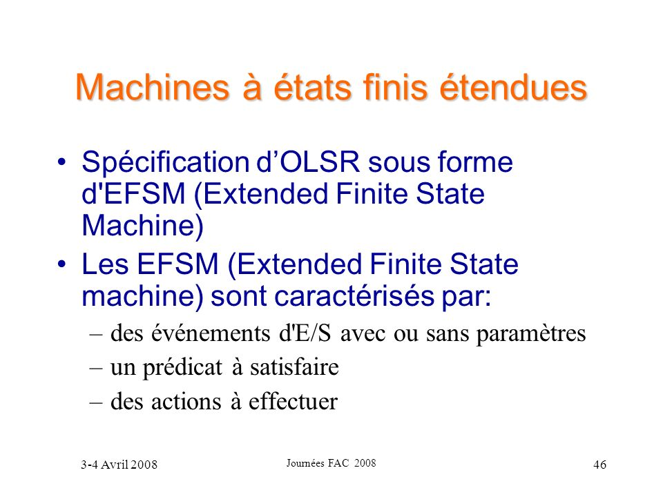 Machines à états finis étendues