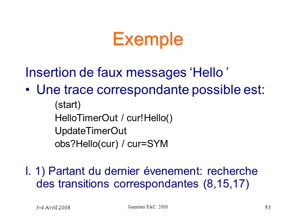 Exemple Insertion de faux messages 'Hello '