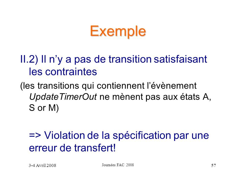 Exemple II.2) Il n'y a pas de transition satisfaisant les contraintes