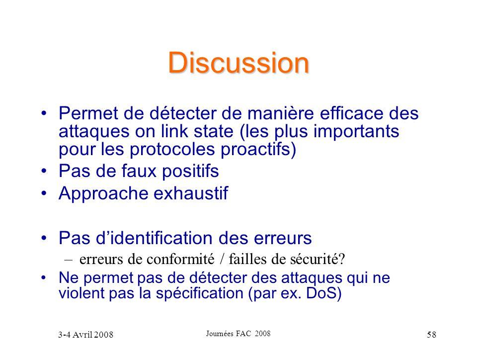 Discussion Permet de détecter de manière efficace des attaques on link state (les plus importants pour les protocoles proactifs)