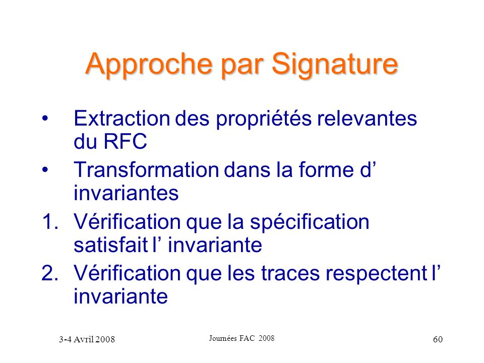 Approche par Signature