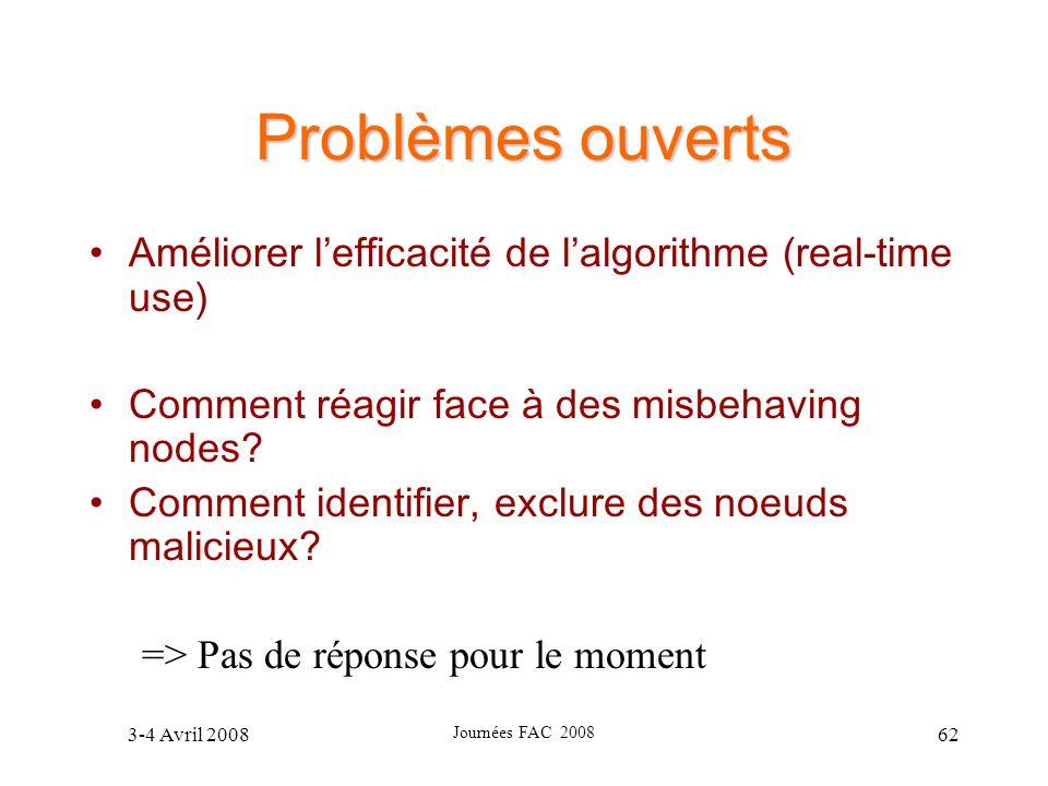 Problèmes ouverts Améliorer l'efficacité de l'algorithme (real-time use) Comment réagir face à des misbehaving nodes