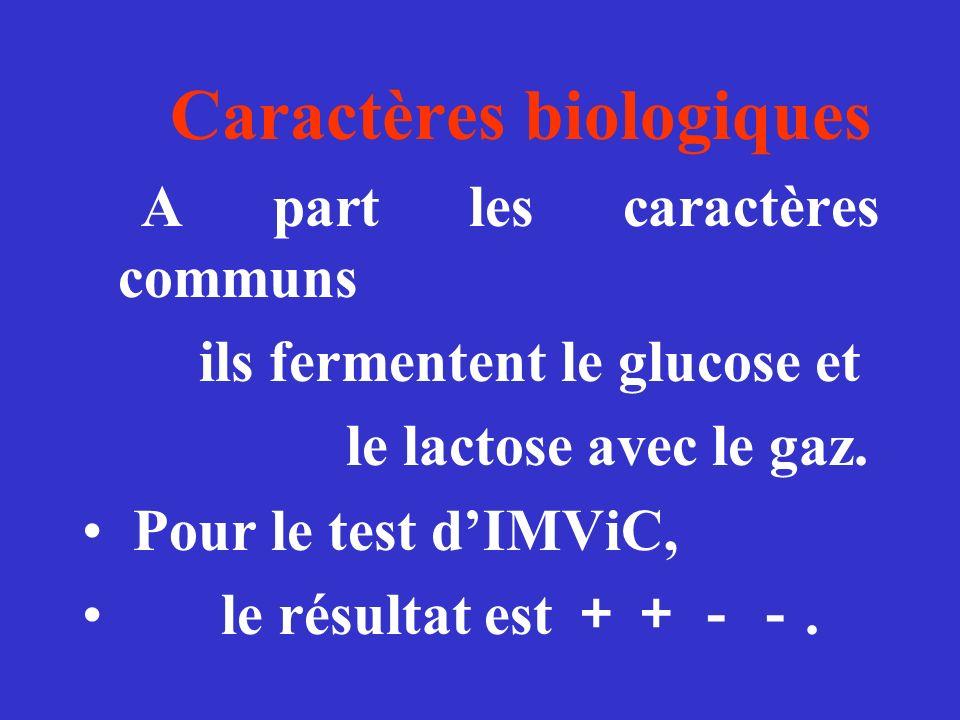 Caractères biologiques