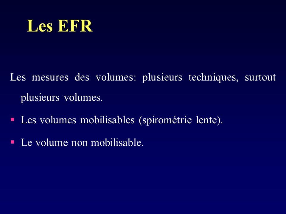 Les EFR Les mesures des volumes: plusieurs techniques, surtout plusieurs volumes. Les volumes mobilisables (spirométrie lente).