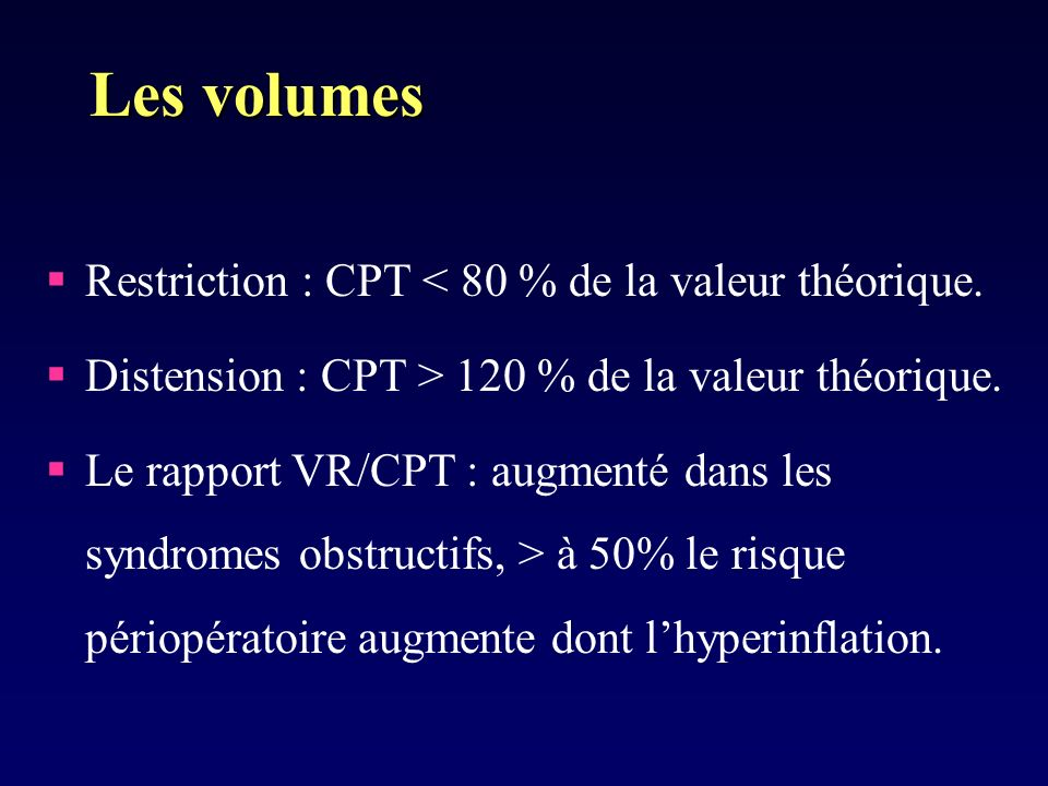 Les volumes Restriction : CPT < 80 % de la valeur théorique.