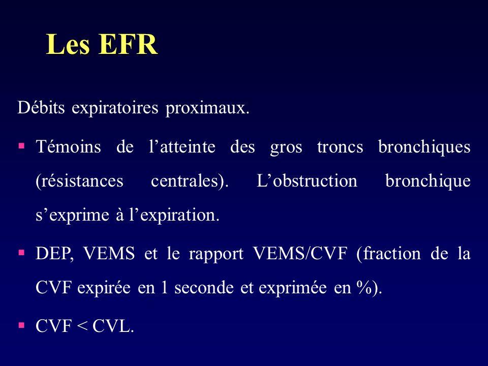 Les EFR Débits expiratoires proximaux.