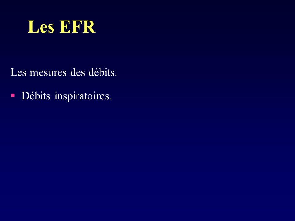 Les EFR Les mesures des débits. Débits inspiratoires.