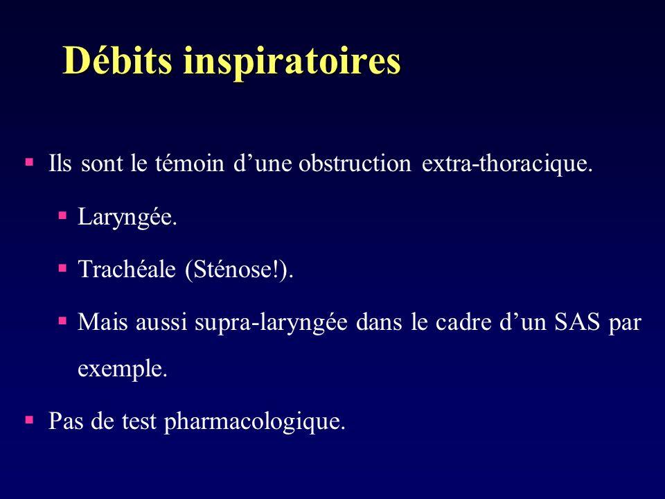 Débits inspiratoires Ils sont le témoin d'une obstruction extra-thoracique. Laryngée. Trachéale (Sténose!).