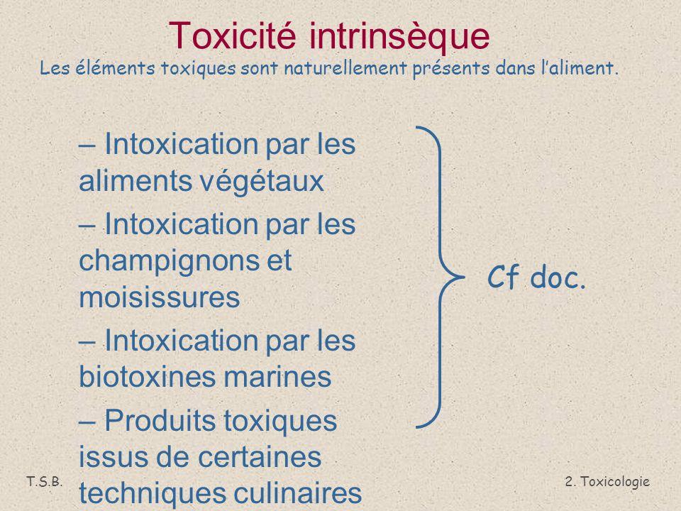 Toxicité intrinsèque Les éléments toxiques sont naturellement présents dans l'aliment.