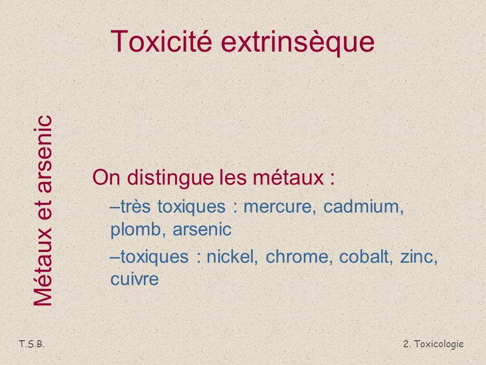 Toxicité extrinsèque Métaux et arsenic On distingue les métaux :