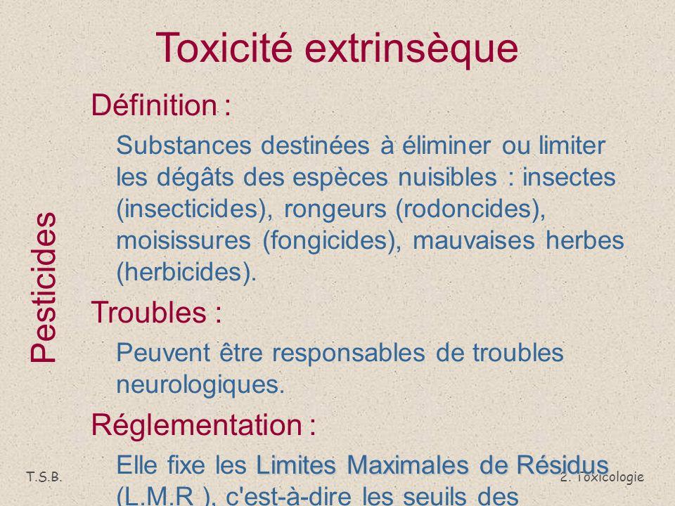 Toxicité extrinsèque Pesticides Définition : Troubles :