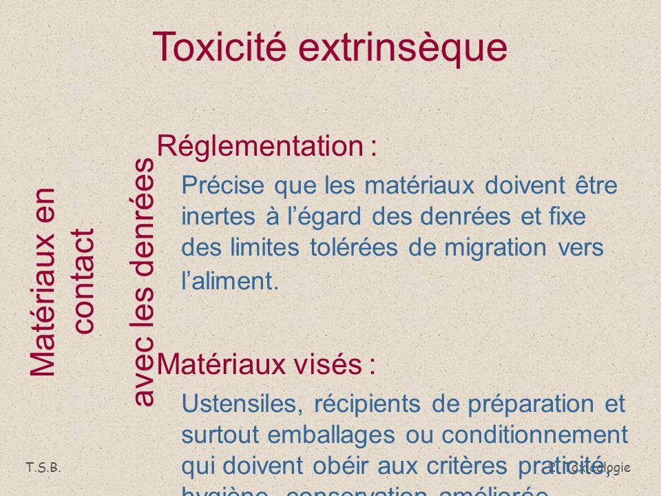 Toxicité extrinsèque avec les denrées Matériaux en contact