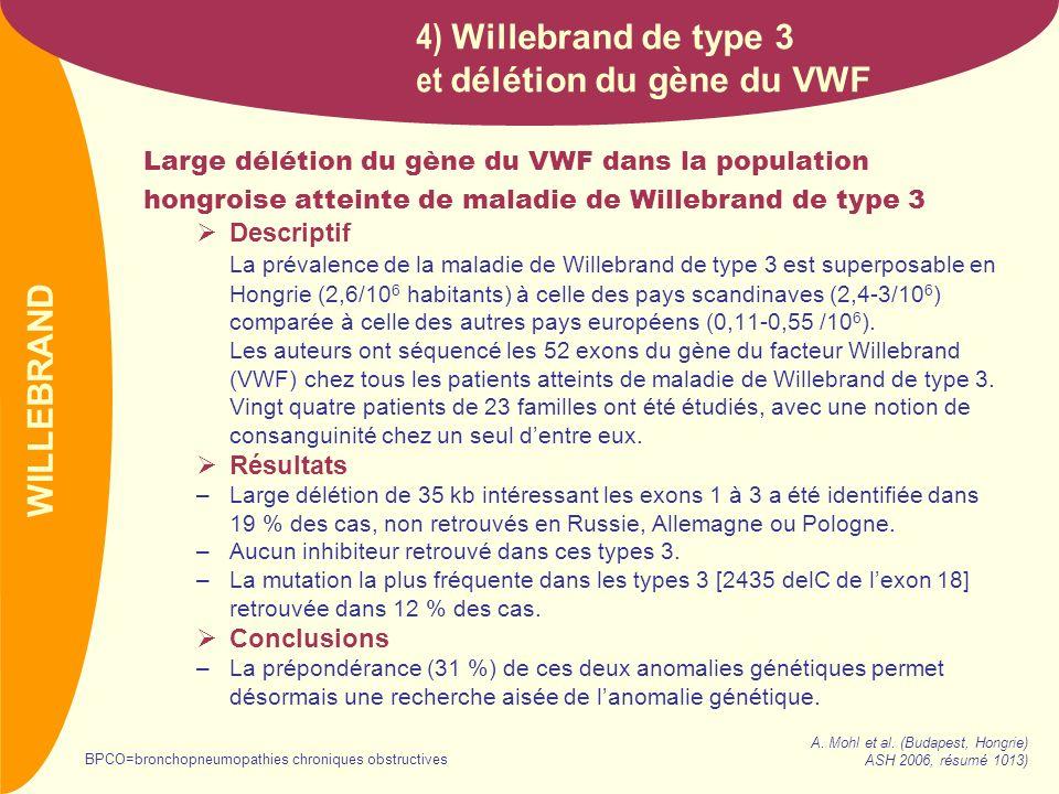 et délétion du gène du VWF