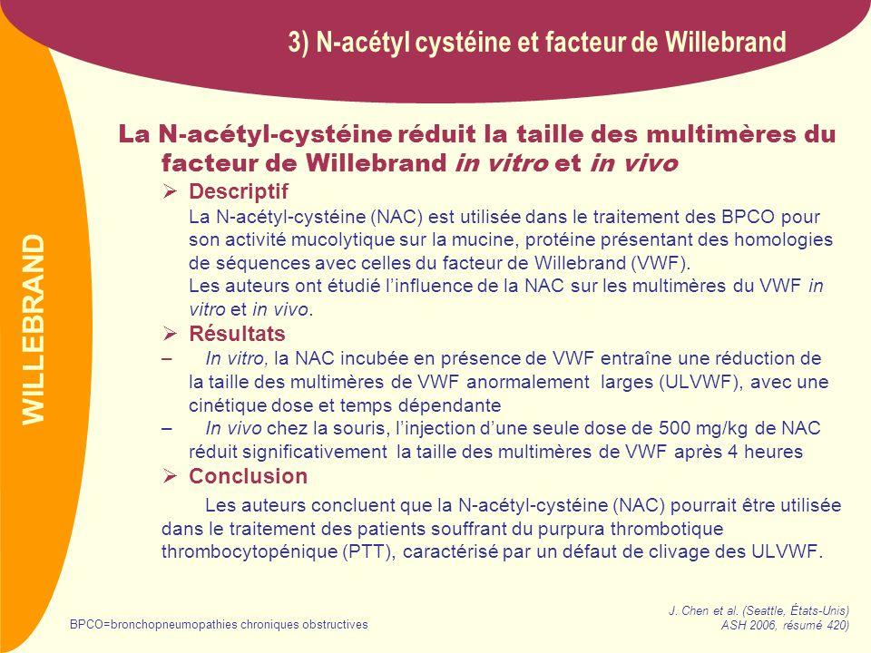 3) N-acétyl cystéine et facteur de Willebrand