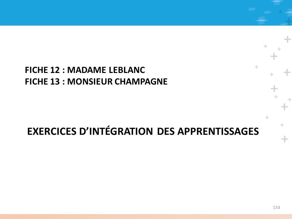 FICHE 12 : MADAME LEBLANC FICHE 13 : MONSIEUR CHAMPAGNE