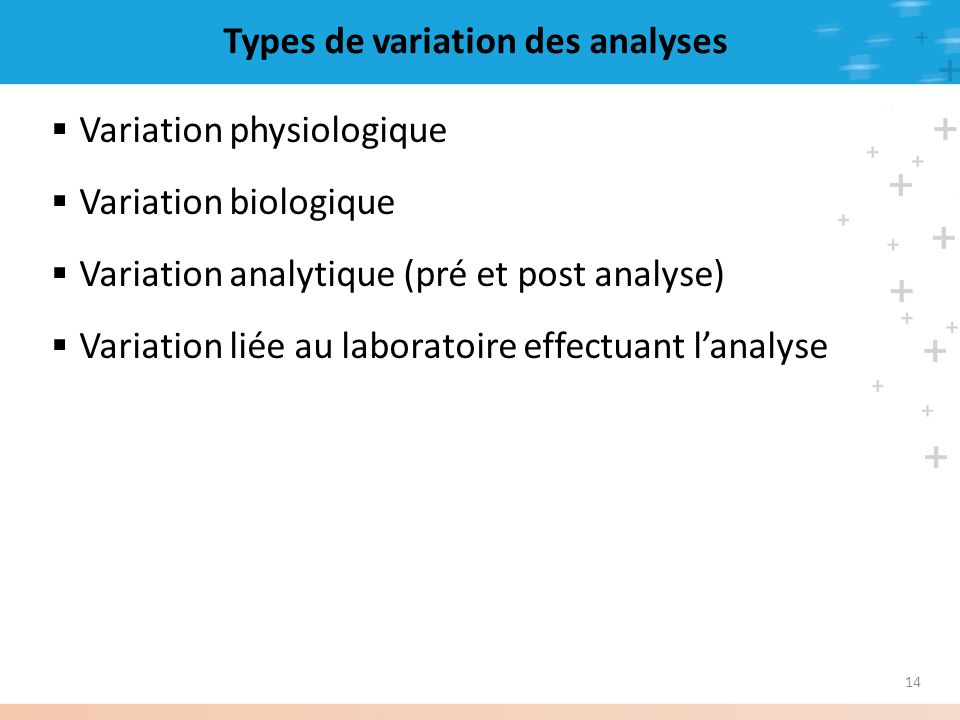 Types de variation des analyses