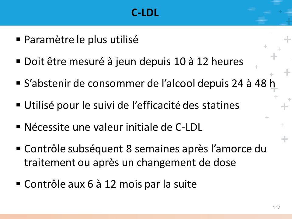 C-LDL Paramètre le plus utilisé. Doit être mesuré à jeun depuis 10 à 12 heures. S'abstenir de consommer de l'alcool depuis 24 à 48 h.