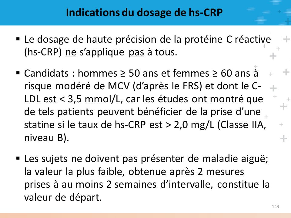 Indications du dosage de hs-CRP