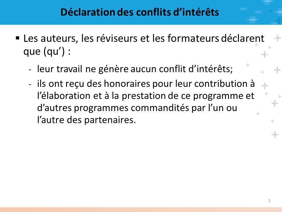 Déclaration des conflits d'intérêts