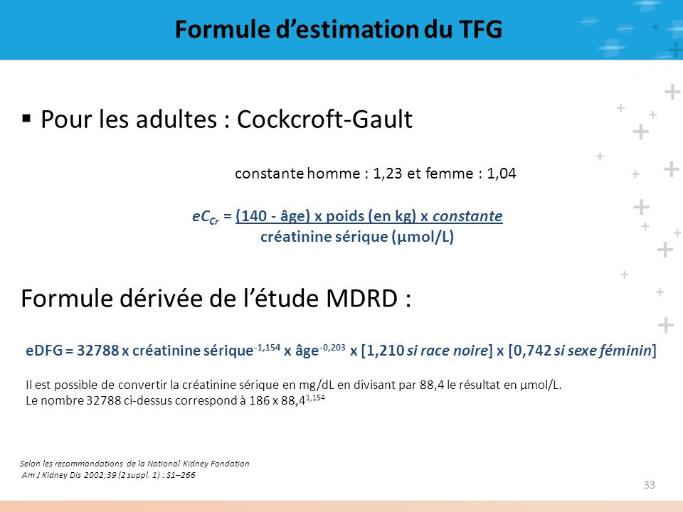 Formule d'estimation du TFG