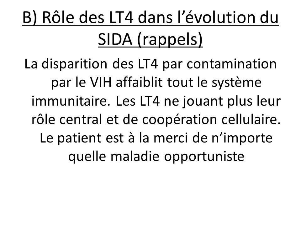 B) Rôle des LT4 dans l'évolution du SIDA (rappels)