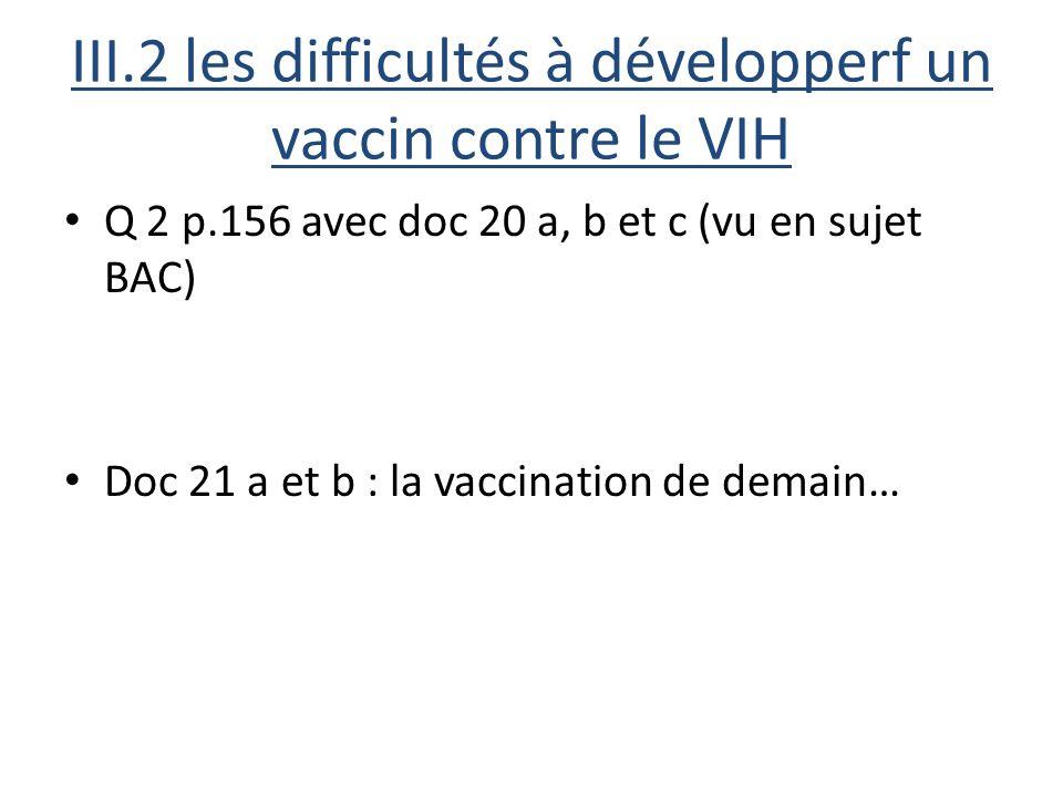 III.2 les difficultés à développerf un vaccin contre le VIH