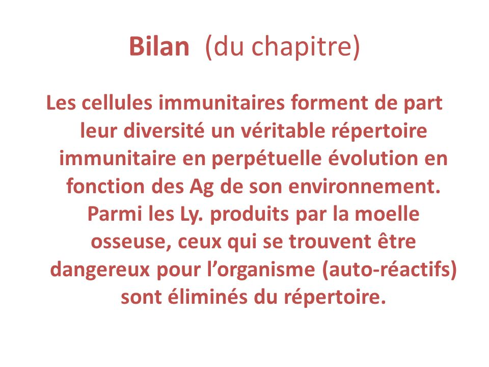 Bilan (du chapitre)